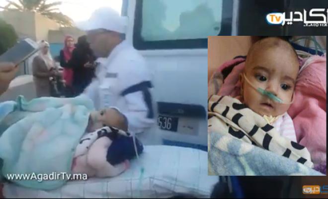 """بالفيديو.. نقل الطفلة """"ياسمين"""" إلى مراكش للعلاج وأمها توجه نداء للمحسنين"""